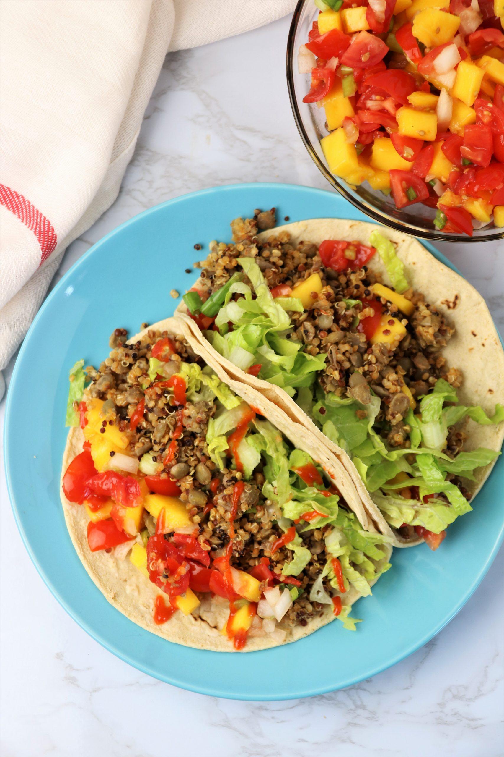 easy vegan lentil tacos with mango salsa