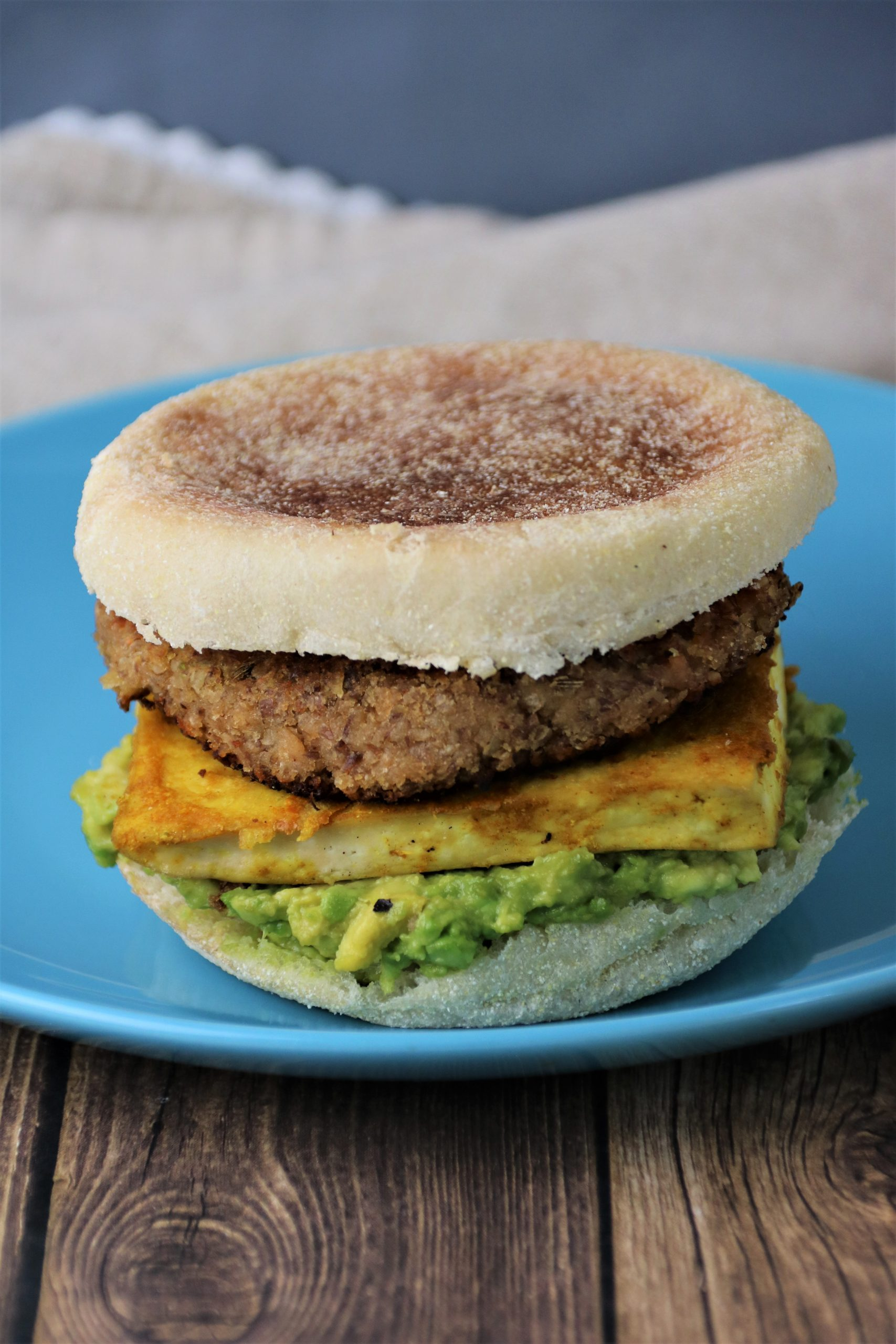 vegan sausage and egg sandwich