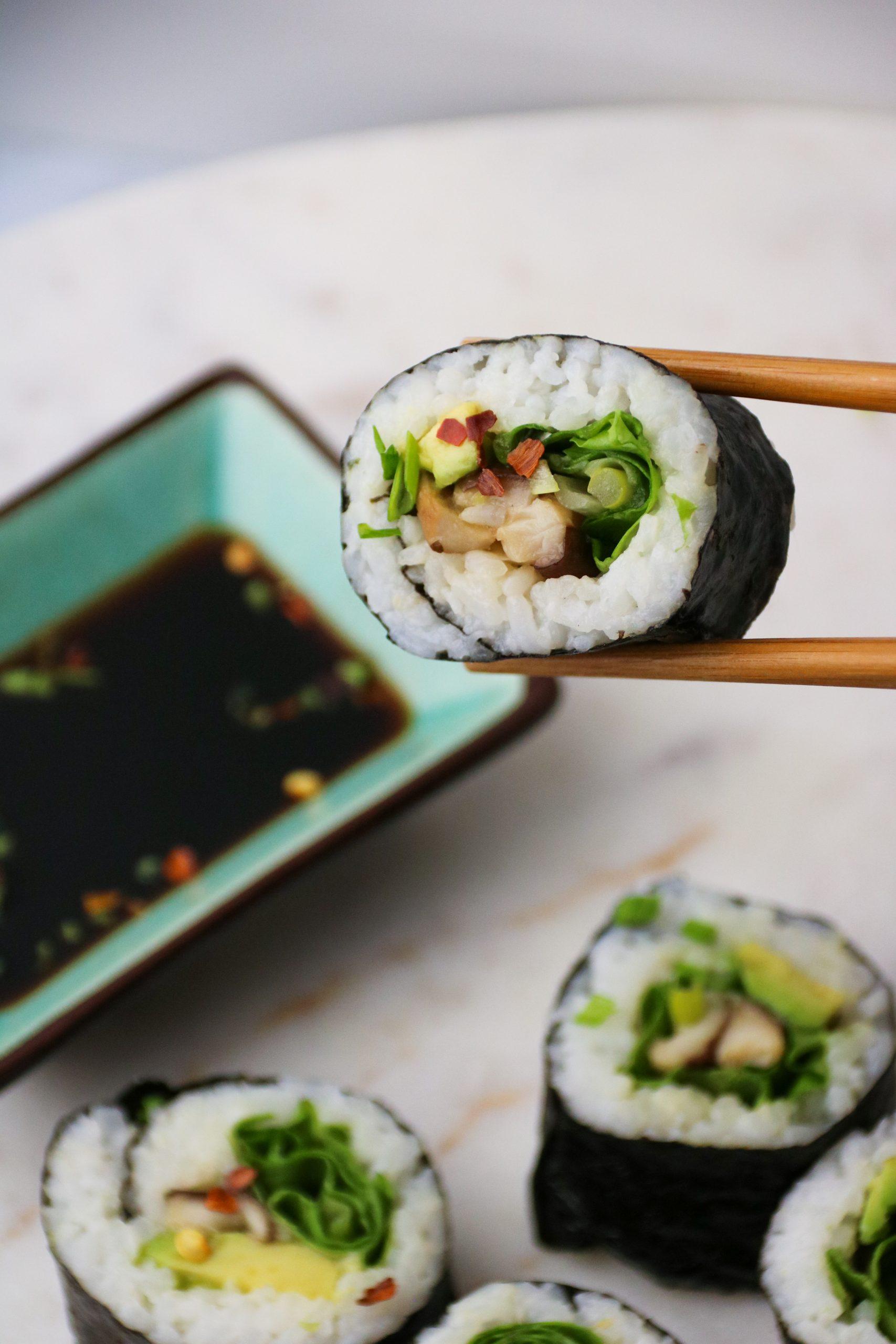 homemade mushroom sushi