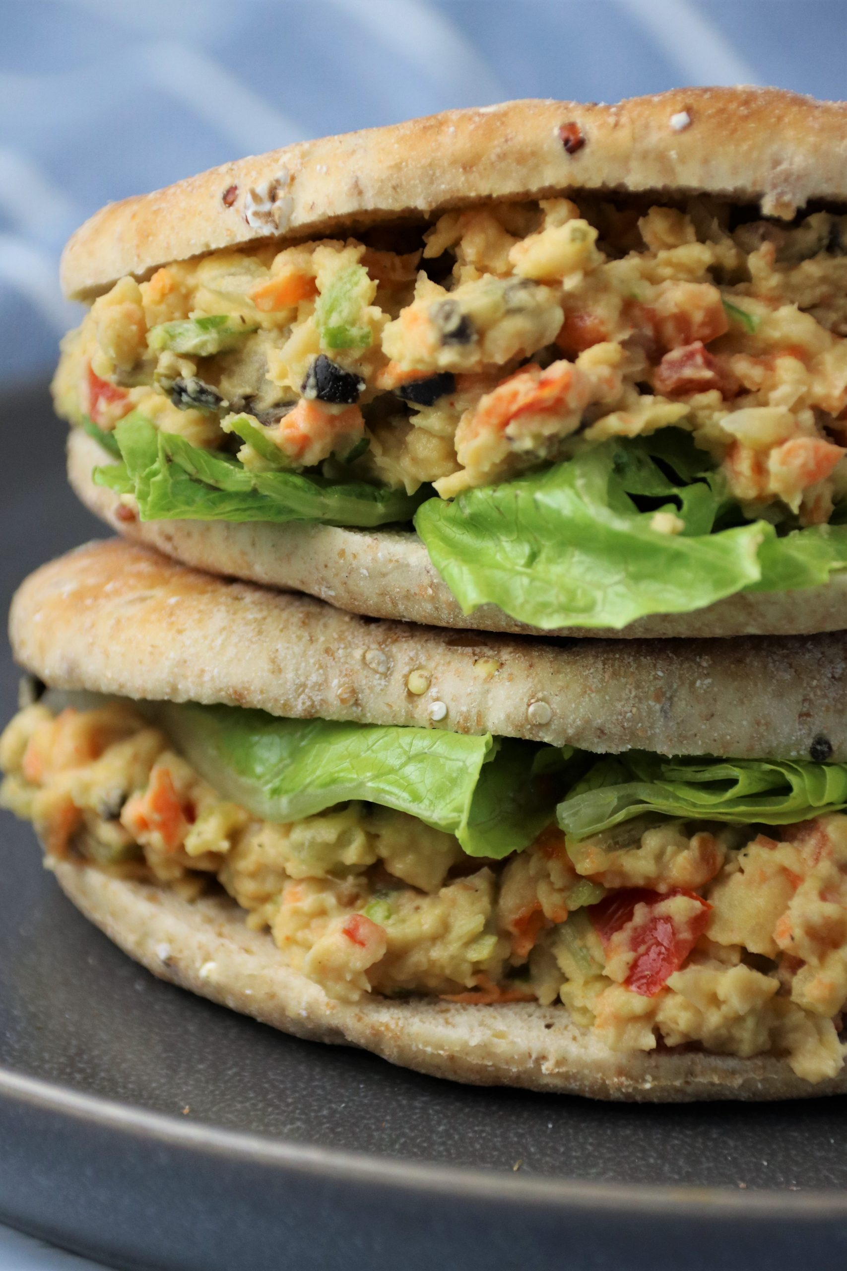 vegan lunch chickpea salad sandwich