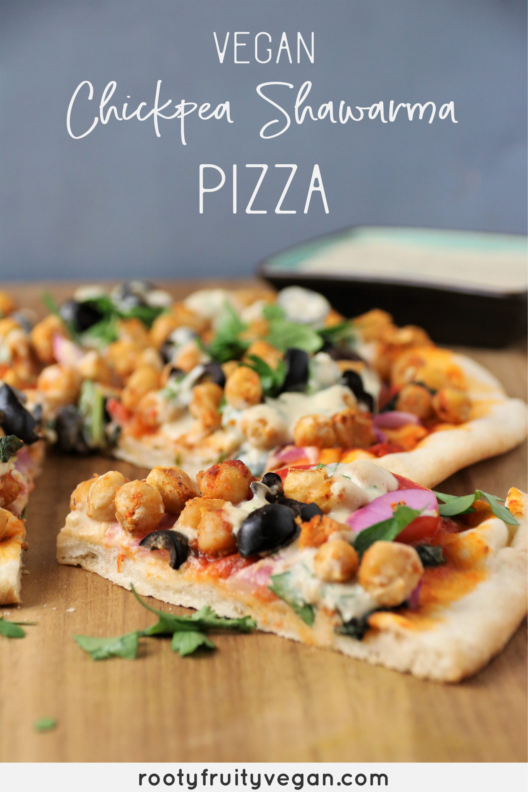 vegan chickpea shawarma pizza