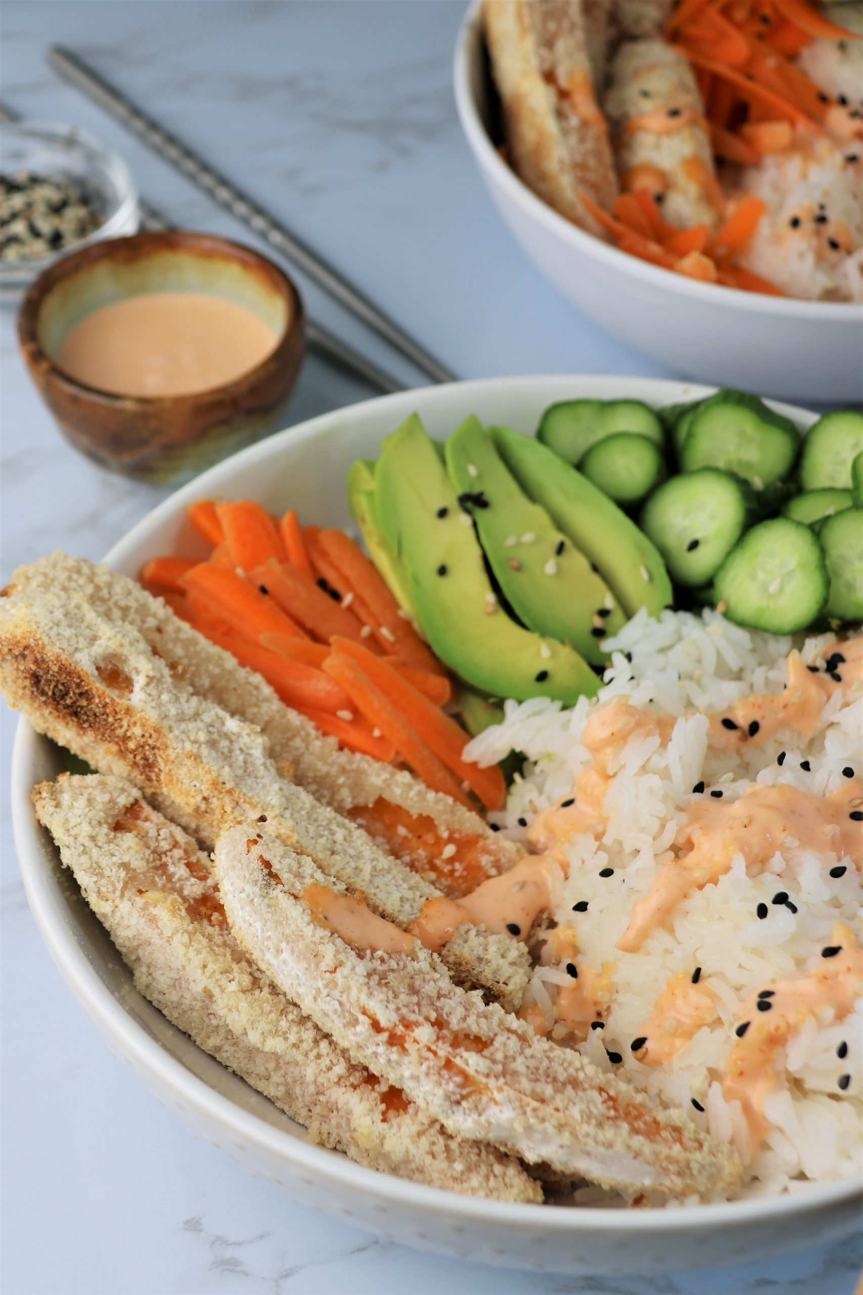 vegan sushi bowl with tempura